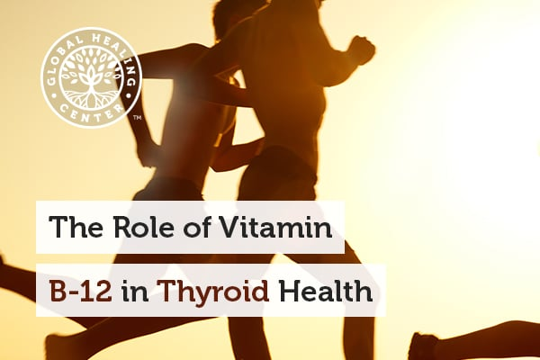 People are running on the beach. Vitamin B-12 is one of the several nutrients that support thyroid health.