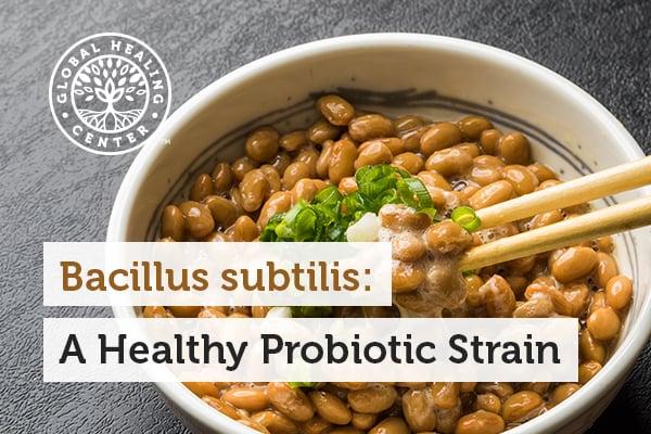 A bowl of natto. Natto is a good source of Bacillus subtilis.