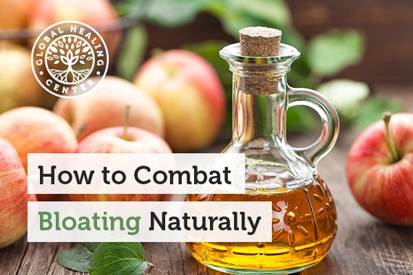 A bottle of apple cider vinegar is a great remedy for reducing bloating naturally.