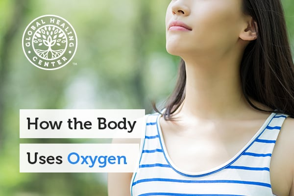 Picture of a woman taking a deep breath to fill her lungs with oxygen. Oxygen is a gas that is essential for life.
