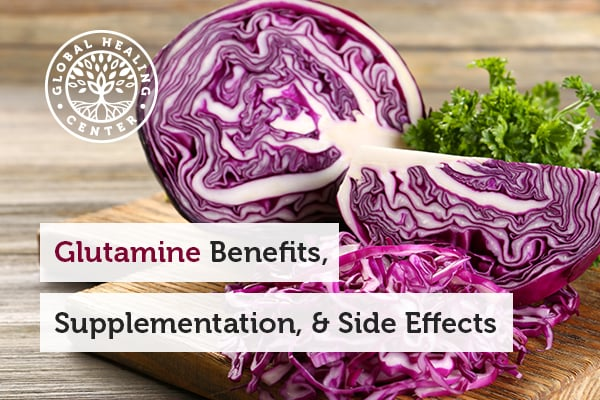 A red cabbage on the table. Nutrient Absorption and brain health are one of many Glutamine Benefits.