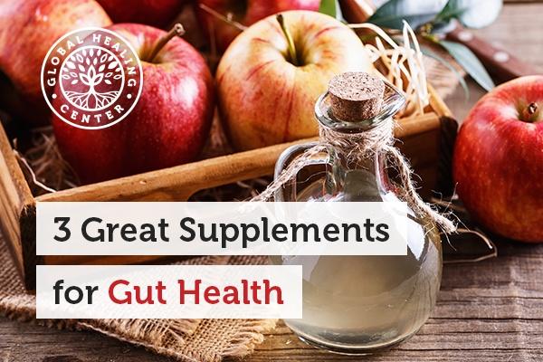 A bottle of apple cider vinegar. Probiotic supplements and apple cider vinegar are great for gut health.