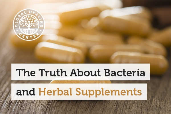 An herbal supplement. Many herbal supplements do show measurable levels of bacteria counts, especially in roots such as ginger.