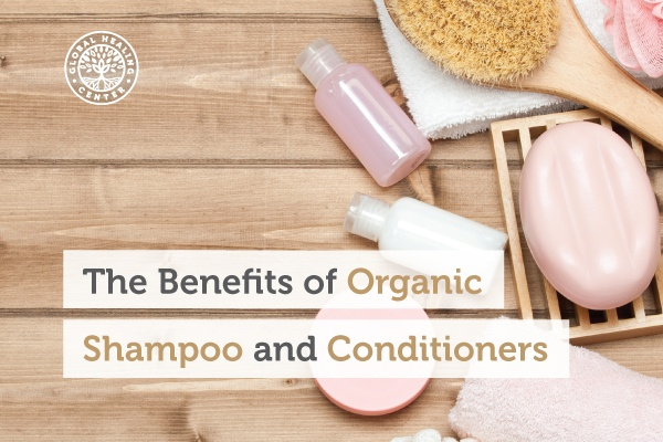 A bottle of organic shampoo and conditioners are safer for the body.