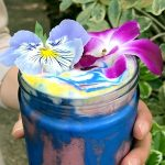 Healthy Unicorn Frappe with Edible Flowers