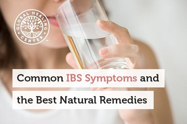 A person drinking water. Symptoms of IBS and natural remedies.