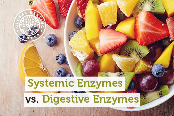 Fruits in a bowl. Digestive enzymes help break down the fiber.