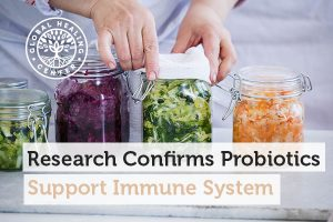 Jars of fermented foods. Studies show probiotics can help support the immune system.