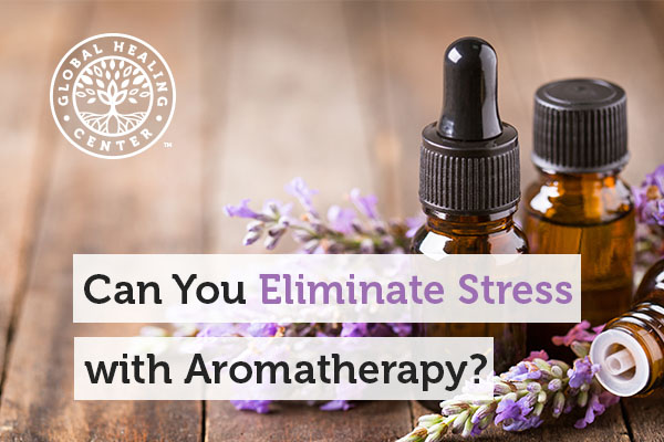 A bottle of essential oil. Aromatherapy can help relieve stress.