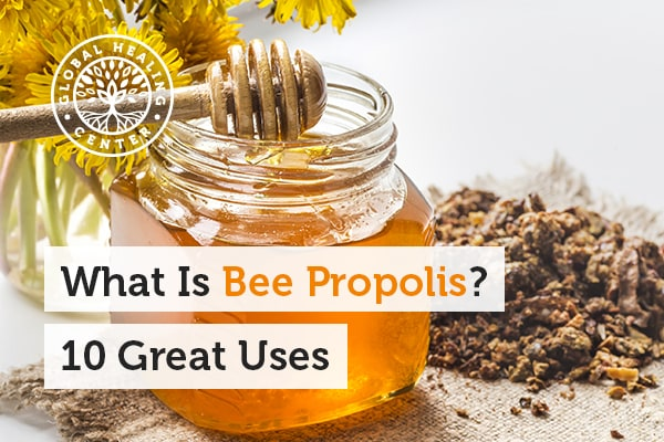 A glass bottle of honey. Bee propolis can help support the immune system.