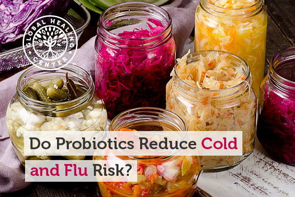 Four jars of fermented food. Probiotics can help fight against cold and flu.