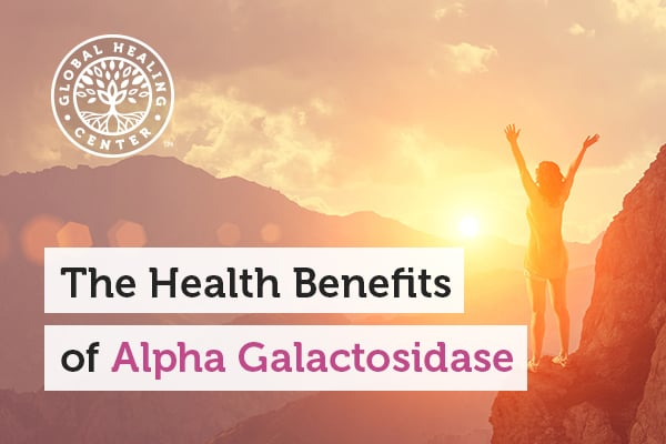 An individual on a hill. Alpha-galactosidase helps aid in digestion and also help reduce intestinal gas.