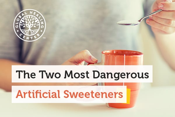 A person is holding a teacup. Aspartame and sucralose are two dangerous artificial sweeteners.