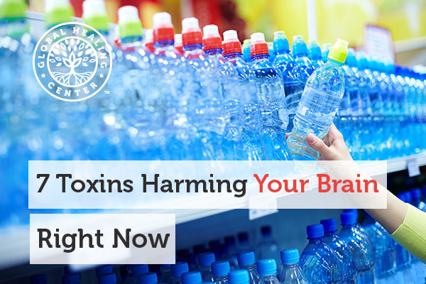 A bottle of water. Chemicals like mercury and lead are toxins that can harm your brain.