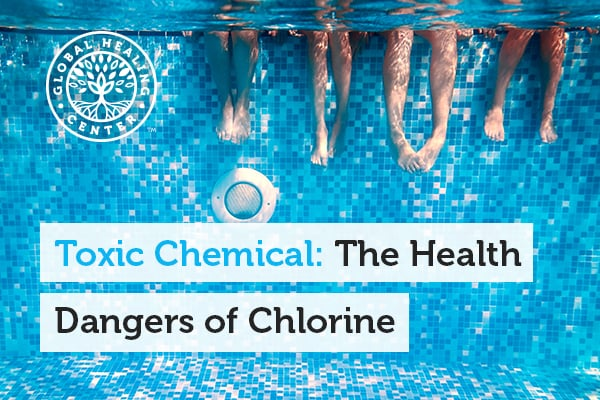 A swimming pool. Chlorine is commonly found in swimming pool and can be very dangerous for your health.