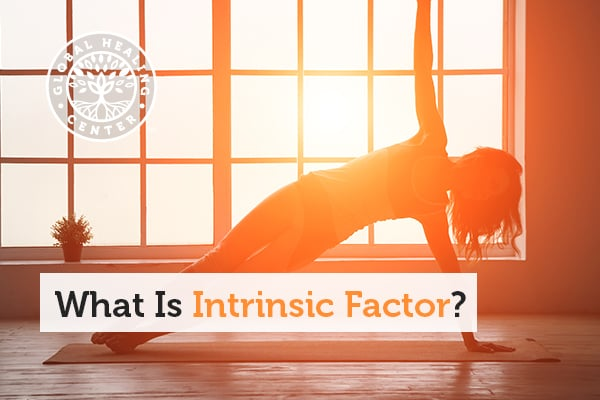 A woman is doing yoga. Intrinsic factor is a material that is removed from the stomach that allows the body to absorb vitamin B12.