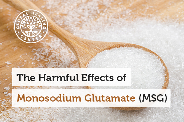 A spoon of MSG. Consuming monosodium glutamate can lead to high blood pressure and weight gain.