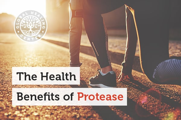 An individual is in their athletic wear. Protease is an enzyme that is important for the digestion of many foods.