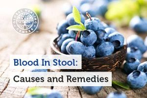 A bowl of blueberry. Occasional constipation is one of the reasons for blood in stool.