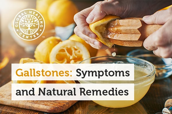 A jar of lemon juice. Pain in the upper right side of the abdomen is just one of the symptoms of gallstones.