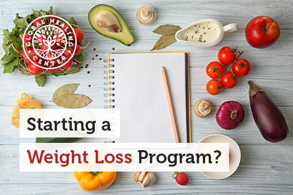 A pencil and a notepad. You can start a weight loss program by simply eating healthy and exercising regularly.