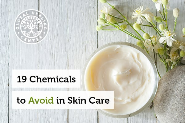 Bottle of organic cream. There are countless chemicals to avoid in skin care products.