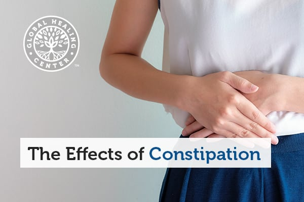 Effects of constipation can include bath breathe and stomach issues.
