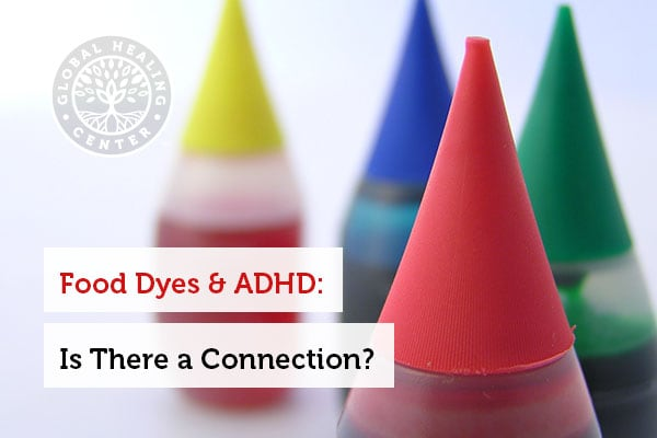 Four bottles of food dye. Studies show that there is a connection between food dyes and ADHD.