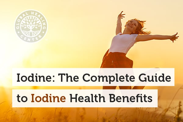 A woman jumping with joy. Iodine provides many health benefits.