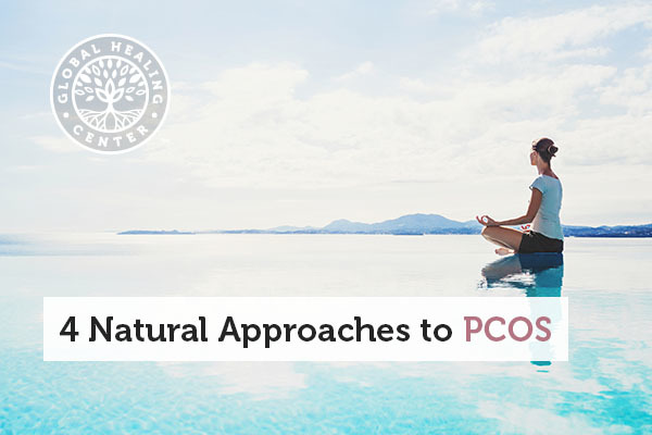 A is woman meditating. Maintaining a healthy weight is a great natural approach to PCOS.