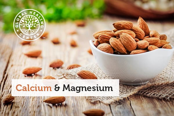 A bowl of almonds. Almonds are rich in calcium and magnesium.