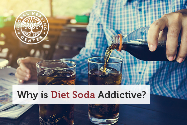 A person pouring diet soda into the glass. Diet drinks have aspartame which is a addicting chemical.