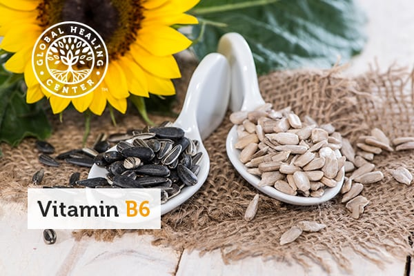 A bowl of sunflower seeds. Healthy metabolism is one of many vitamin B6 benefits.