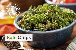A bowl of kale chips for a healthy, nutritious snack.