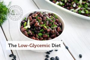 Low glycemic diet includes foods like black beans in a bowl.