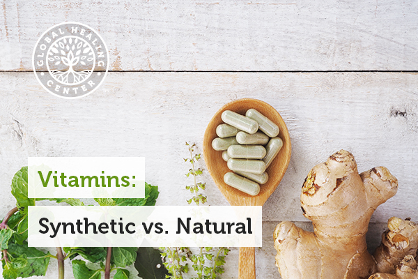 Several natural vitamins that come from plant-based materials and sources.