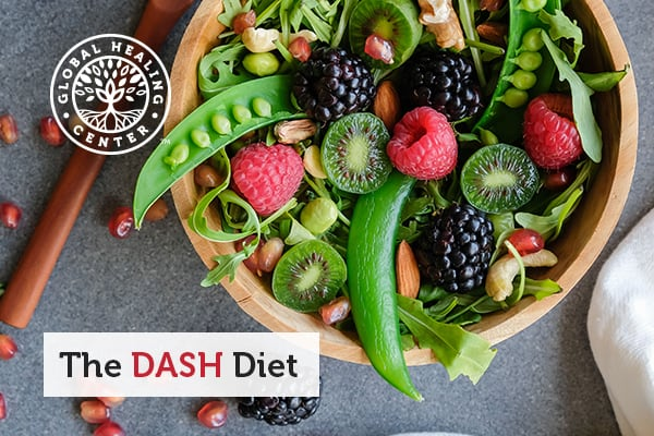 A salad of fresh fruit and vegetables in a bowl. Fruits and vegetables are a staple of the DASH diet.