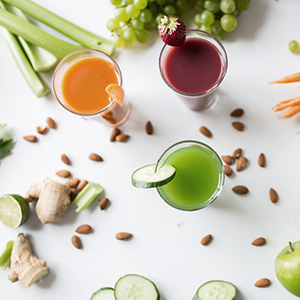 Five fruit and vegetable juices. Juicing for weight loss is effective for losing stubborn fat.