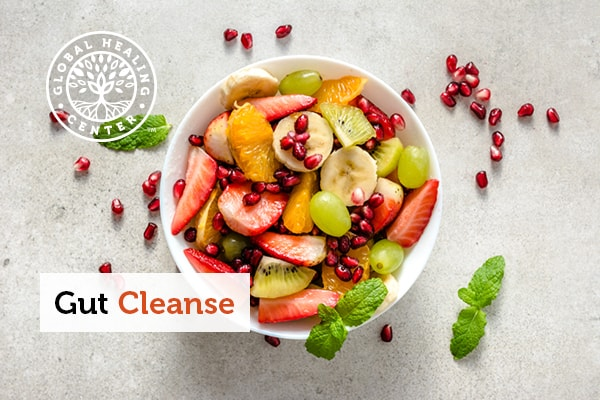 A bowl of fruit for a gut cleanse.