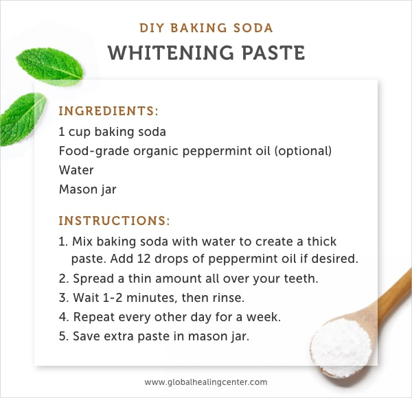 Use baking soda for a natural teeth whitening paste.