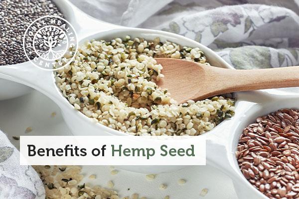A bowl of hemp seed.