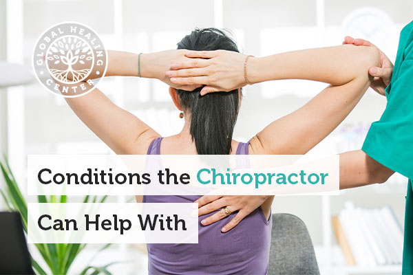 A woman getting adjusted by a chiropractor.