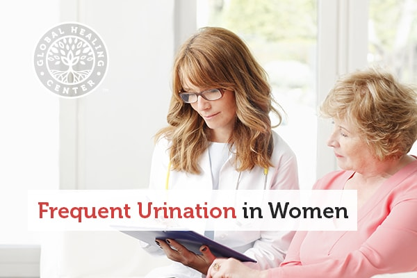 A woman with her doctor speaking with her doctor about her frequent urination symptoms.