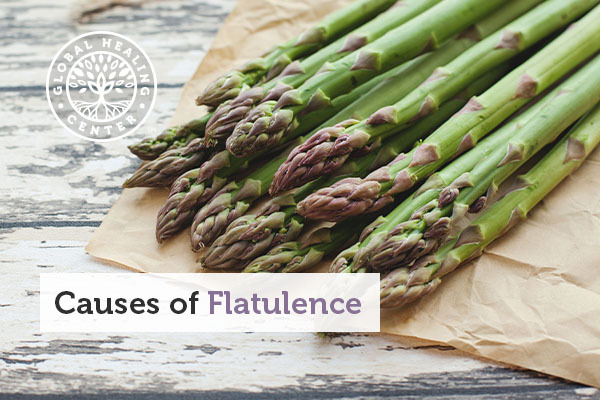 A plate of asparagus, which is a food that can cause flatulence.