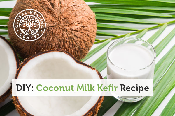 A fresh coconut kefir drink.