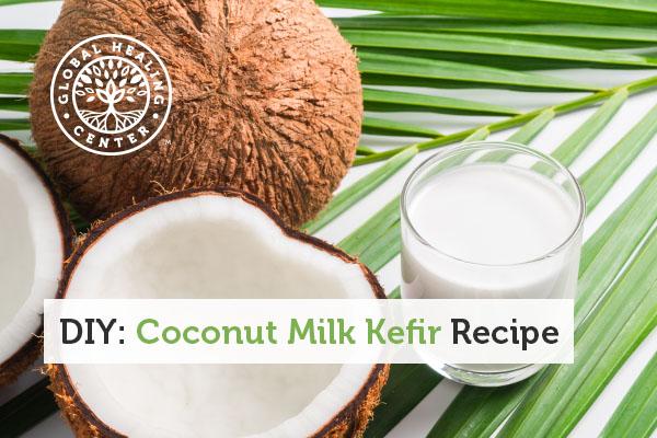 A fresh coconut kefir drink.