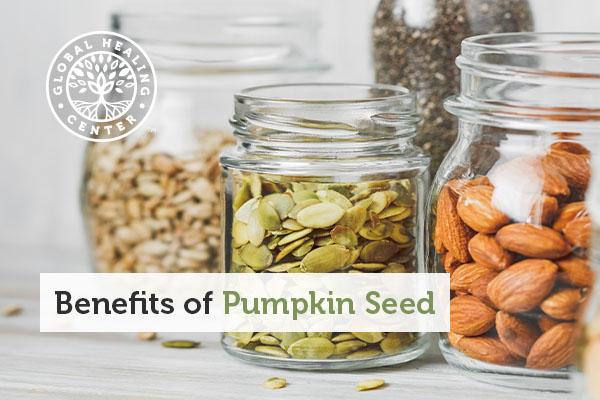 A jar of pumpkin seeds.