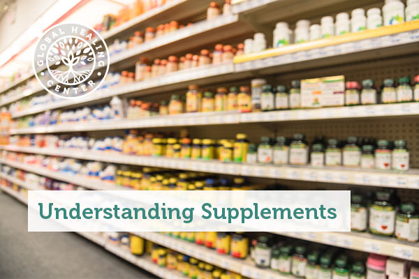 A supplement aisle at a grocery store.