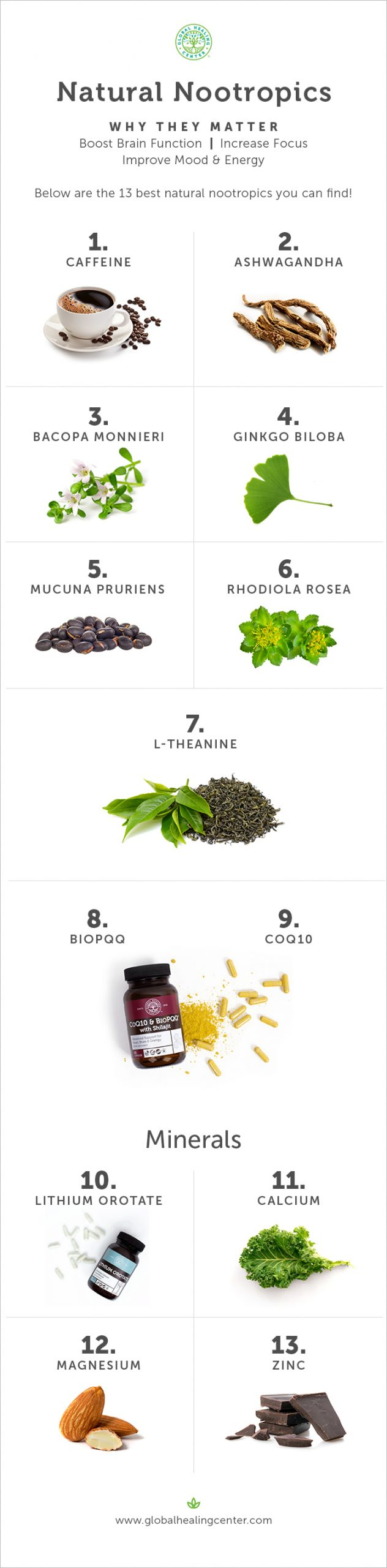 Learn the top 13 natural nootropics and why they matter.