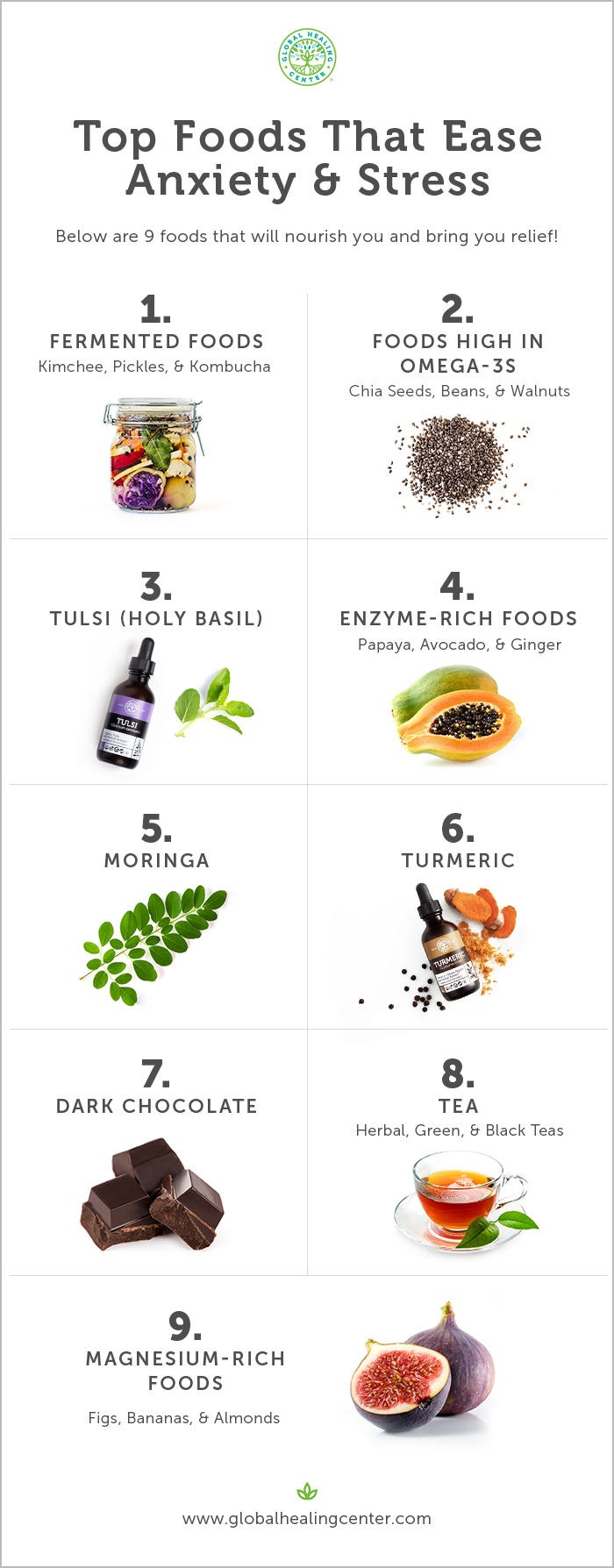Learn the top foods that will ease and reduce anxiety.